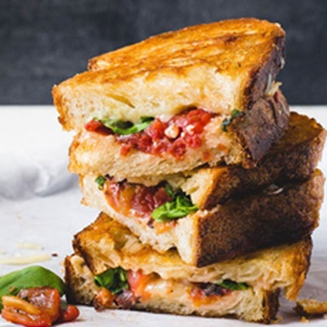 Fire Roasted Tomato Grilled Cheese with Basil