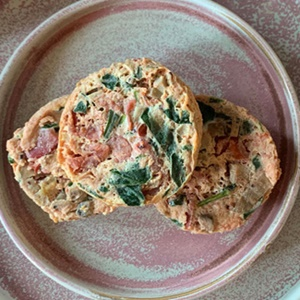 Matt Dean Pettit's Muir Glen Fire Roasted Diced Tomatoes + Spinach Egg White Protein Bites