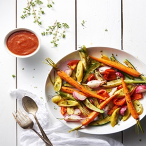 Fire Roasted Tomato Vinaigrette with Roasted Vegetables