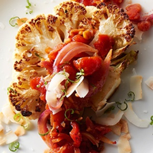 Roasted Cauliflower Steaks with Tomato Chutney